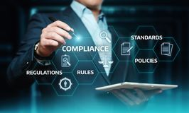 Överensstämmelse härskar begrepp för teknologi för affär för lagregleringspolitik arkivfoton
