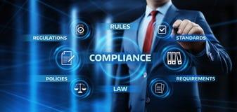 Överensstämmelse härskar begrepp för teknologi för affär för lagregleringspolitik royaltyfri bild