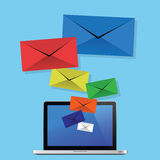 Överför mejl från din bärbar dator Royaltyfri Illustrationer