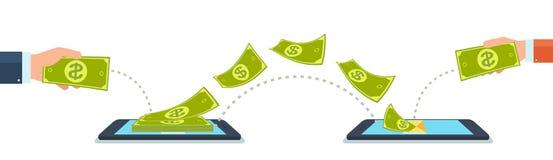 Överför och motta pengar genom att använda mobiltelefoner, grejer royaltyfri illustrationer