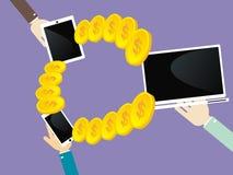 Överför pengar mellan din bärbar dator, smartphone och minnestavla Royaltyfri Foto