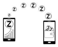 Överför zcash från telefonen till plånboken i en annan telefon royaltyfri illustrationer