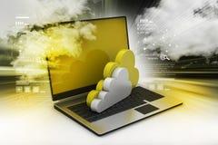 Överförande information till en molnnätverksserver Arkivfoto
