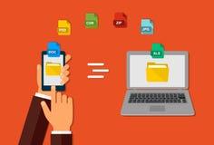 Överföring av data Mappformat Handen med telefonen Överför dokument från din smartphone till bärbara datorn royaltyfri illustrationer