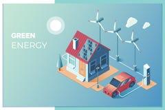 Överföring av sol- och vindenergi för bruk hemma Solpaneler och vindturbiner att mata det smarta hemmet och elkraften royaltyfri illustrationer