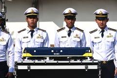 Överföringsceremonin av den dieselelektriska lokomotivet till den statliga järnvägen av Thailand Arkivfoto