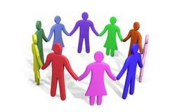 Överflöd av färgrikt folk som står i händer för ett cirkelinnehav Fotografering för Bildbyråer