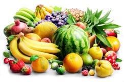 Överflöd av frukter på viten arkivbilder