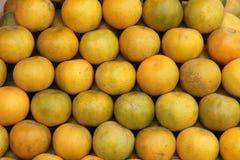 Överflöd av tangerines eller apelsiner i en marknad Arkivfoton