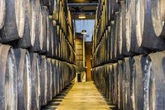 Överflöd av vinfat i Porto område, Portugal Fotografering för Bildbyråer