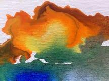 Överflöd för fläcken för abstrakt begrepp för vattenfärgkonstbakgrund befläcker färgrikt texturerat idérikt himmel Arkivbild
