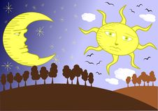 Övergång från dag till natten vektor illustrationer