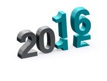 övergång 2015 till 2016 på vit bakgrund Arkivbilder