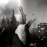 Övergången från skogen till staden med konturn av en flicka Fånga staden av djurliv färgpulvereffekt double vektor illustrationer