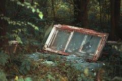 Övergav brutna fönster i skogen Royaltyfri Foto