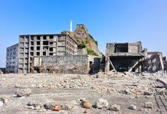 Övergav byggnader på Gunkajima i Japan Arkivfoton