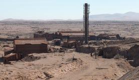 Övergav fabriker, Humberstone spökstad, Atacama öken, Chile Royaltyfri Fotografi