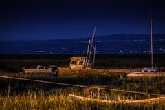 Övergav fartyg på natten Arkivbild