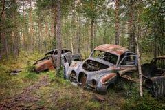 Övergav gamla bilar Arkivfoton