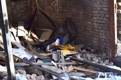 Övergav och förstörda byggnader Fotografering för Bildbyråer
