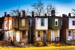Övergav radhus i Baltimore, Maryland Royaltyfria Foton