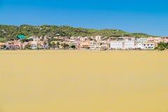 Övergav salta pannor i Carloforte, San Pietro Island, Sardinia Arkivfoton