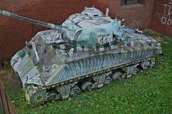 Övergav Sherman Tank Wreck i Novi Sad, Serbien arkivbilder