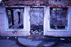 Övergett fördärvar på Pripyat bakgrundshd royaltyfri foto