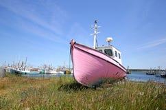 Övergett fiskebåtsammanträde på kusten - Newfoundland, Kanada Royaltyfria Foton