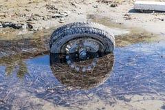 Övergett gammalt gummihjul Royaltyfri Fotografi