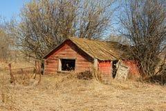 Övergett gammalt ladugård eller skjul i torrt gräs Royaltyfri Fotografi