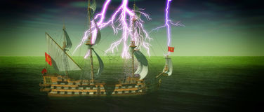 Övergett historiskt seglingskepp i det stormiga havet med en tolkning för blixtslag 3d Arkivfoto