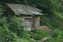 Övergett hus i skogen Arkivbild