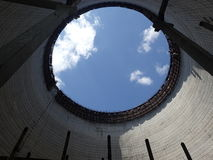Övergett kyla tornet, Tjernobyl Arkivbilder