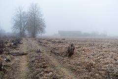 Övergett lantbrukarhem och vägen i morgonmisten Royaltyfria Bilder