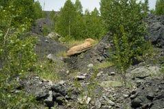Övergett villebråd för coalmining i den Kemerovo regionen Arkivfoton