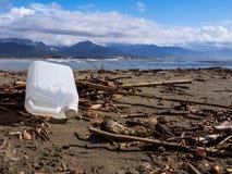 Övergiven behållare på stranden Royaltyfri Fotografi