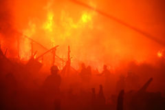 övergiven bränd thailan husslum Royaltyfri Fotografi