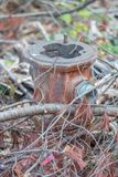 Övergiven brandpost, plan Bouchard, Qc Kanada Royaltyfri Fotografi