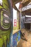 Övergiven bunker nära Golden gate bridge Arkivbild