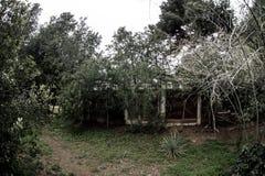 Övergiven byhusbyggnad i den Baku Botanical trädgården Inget i parkera med träd Vår fotografering för bildbyråer