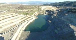Övergiven coalmining Pit Aerial Footage arkivfilmer