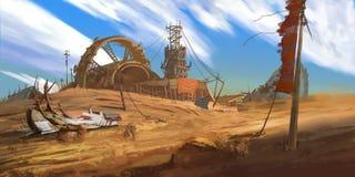 övergiven fabrik Övergett bryta gropen Fiktionbakgrund stock illustrationer