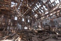 Övergiven fabrik, Humberstone spökstad, Atacama öken, Chile Royaltyfria Bilder