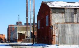 Övergiven gammal fabrik under konkurs i Detroit Arkivfoto