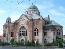 Övergiven gammal judisk synagoga Arkivfoton