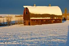Övergiven gammal ladugård i vinter Royaltyfri Foto