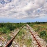 Övergiven gammal rostig järnväg Royaltyfri Foto