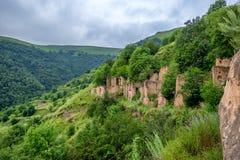 Övergiven by Gamsutl i Dagestan Royaltyfria Bilder