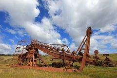 Övergiven guld muddrar, Tierra Del Fuego, Chile Royaltyfri Bild